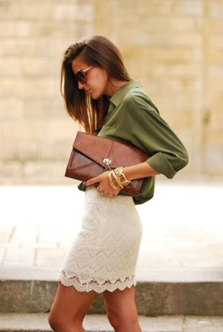 White Lace Mini Skirt Outfits: If you would like take your casual game to a new height, choose an olive button down blouse and a white lace mini skirt.