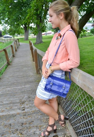 Women's Pink Button Down Blouse, White and Blue Horizontal Striped Mini Skirt, Charcoal Leather Gladiator Sandals, Blue Leather Satchel Bag