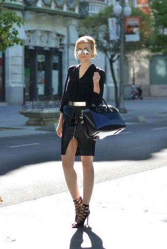 This combo of a black silk button down blouse and a black leather pencil skirt is the perfect balance between formal and edgy. Heeled sandals are a good choice to complete the look. Loving that this look is ideal when summer settles in.