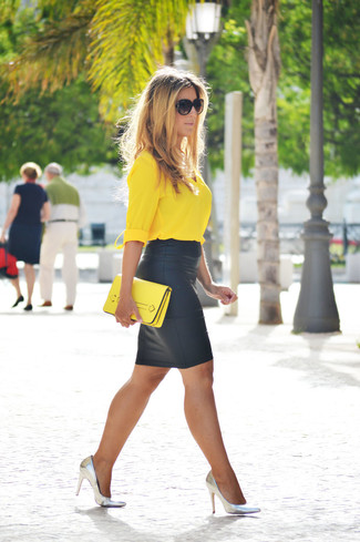 How to wear: yellow button down blouse, black leather pencil skirt, silver leather pumps, yellow leather clutch