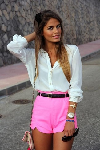 Hot Pink Shorts Outfits For Women: Why not choose a white embellished button down blouse and hot pink shorts? As well as super functional, both items look great married together.