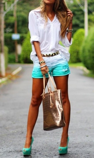 How to wear: white lace button down blouse, mint denim shorts, mint cutout suede pumps, gold leather tote bag