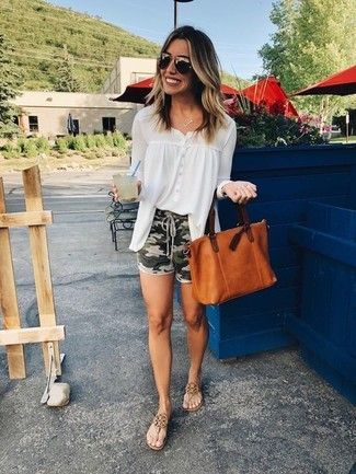 How to wear: white chiffon button down blouse, olive camouflage shorts, brown leather thong sandals, tobacco leather tote bag