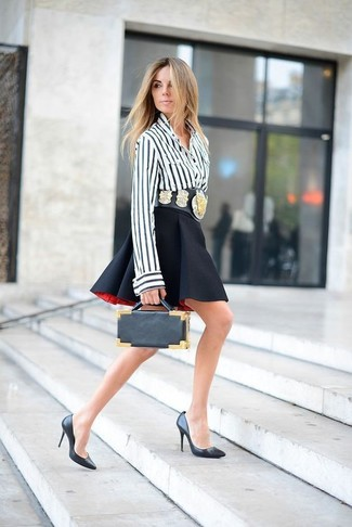 How to wear: white and black vertical striped button down blouse, black skater skirt, black leather pumps, black leather clutch
