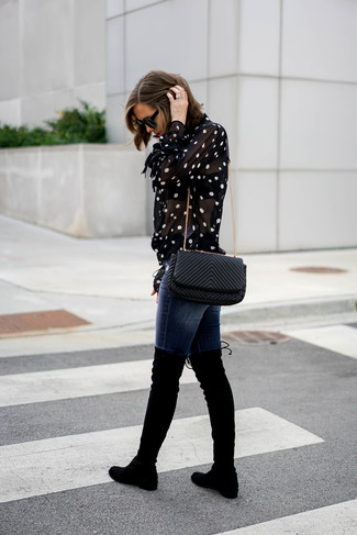 How to wear: black and white polka dot button down blouse, navy skinny jeans, black suede over the knee boots, black quilted leather crossbody bag