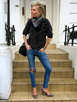 How to wear: black and white polka dot button down blouse, blue ripped skinny jeans, grey suede pumps, black leather satchel bag