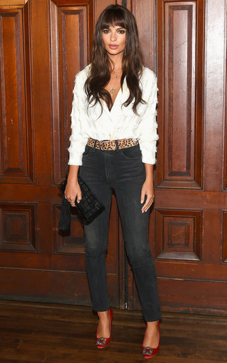 How to wear: white button down blouse, black skinny jeans, red embellished satin pumps, black fringe leather clutch