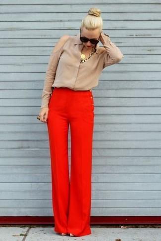Stretch Wool Wide Leg Pants