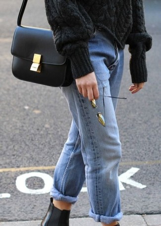 How to wear: black cable sweater, light blue boyfriend jeans, black leather chelsea boots, black leather crossbody bag