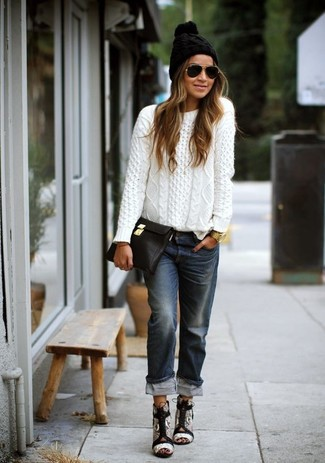 How to wear: white cable sweater, navy boyfriend jeans, grey snake leather heeled sandals, black leather clutch