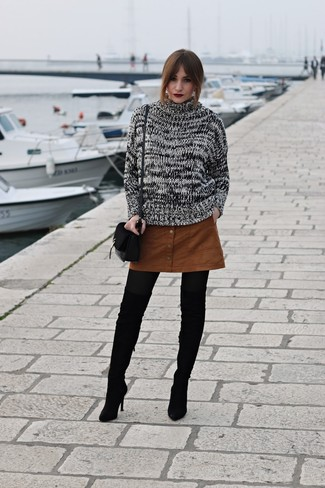 How to wear: black and white cable sweater, tobacco suede button skirt, black suede over the knee boots, black suede crossbody bag