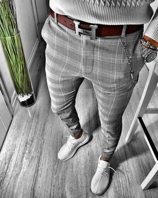 How to wear: grey cable sweater, grey plaid chinos, grey athletic shoes, burgundy leather belt
