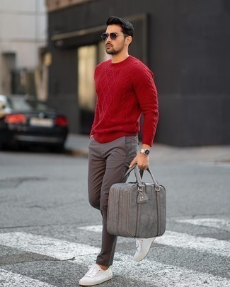 Red Cable Sweater Outfits For Men: Go for a red cable sweater and charcoal chinos for a practical look that's also put together. Rounding off with white canvas low top sneakers is a surefire way to add a more relaxed vibe to your ensemble.