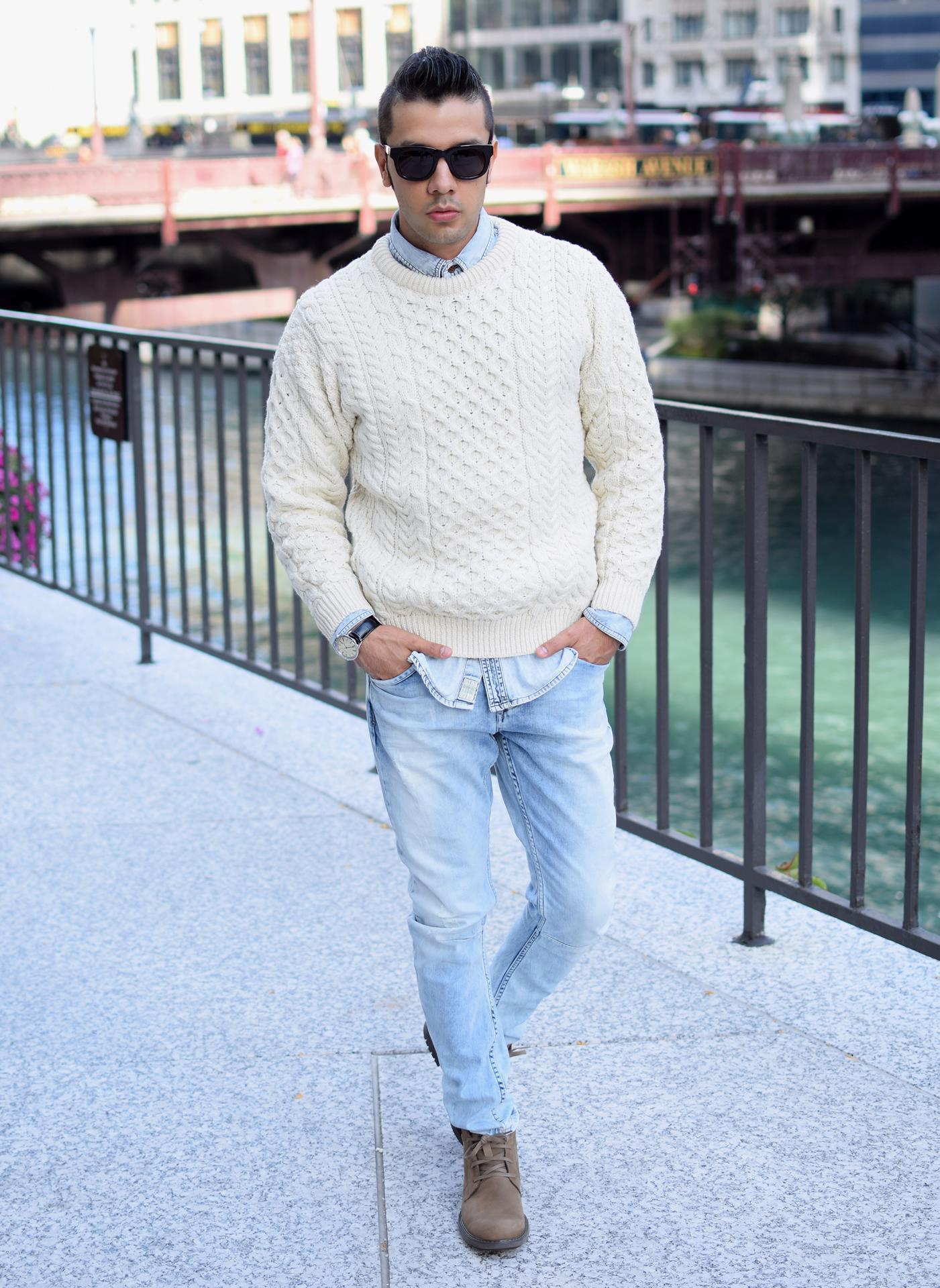Men's Beige Cable Sweater, Light Blue Denim Shirt, Light Blue ...