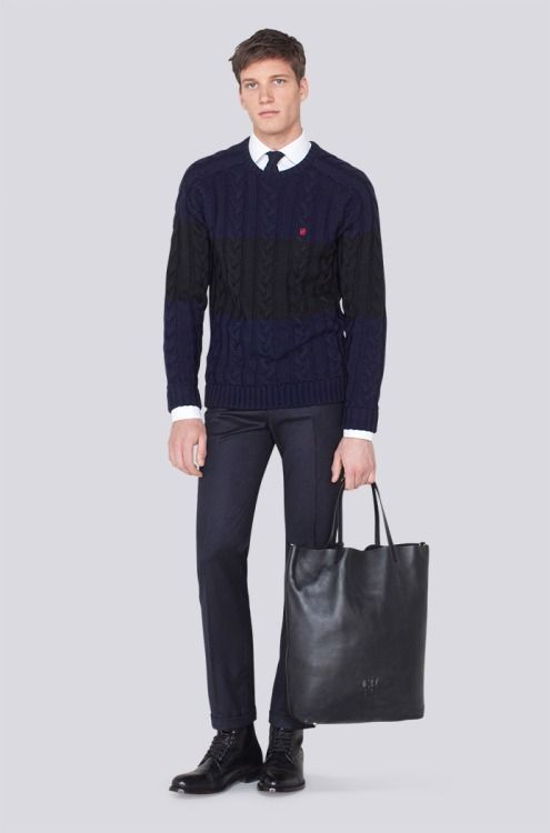 Men's Navy Cable Sweater, White Dress Shirt, Black Dress Pants ...