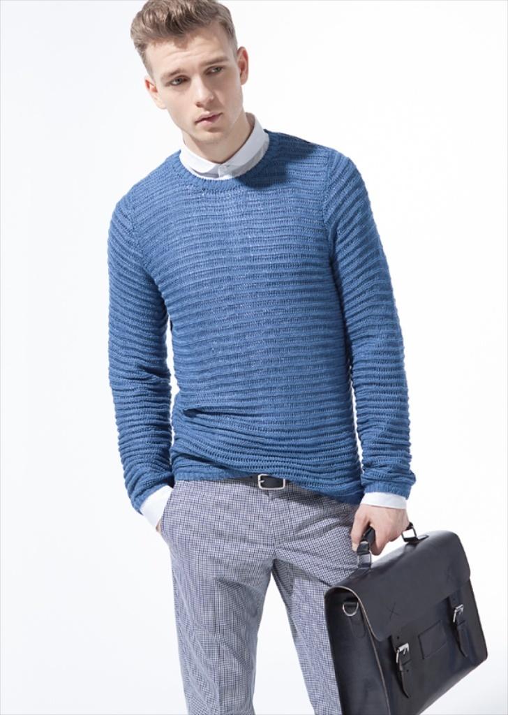 Men's Blue Cable Sweater, White Dress Shirt, Grey Check Dress ...