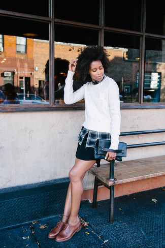 How to wear: white cable sweater, black plaid dress shirt, black mini skirt, brown leather brogues