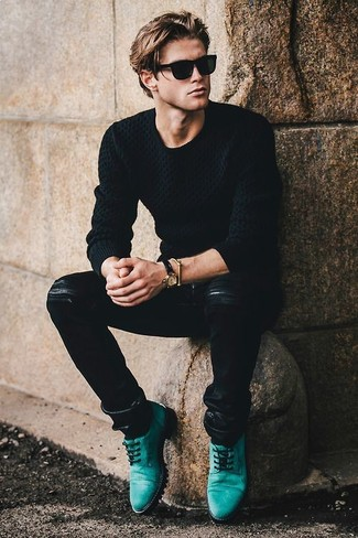 How to wear: black cable sweater, black leather jeans, teal leather derby shoes, black sunglasses