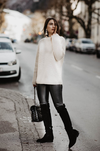 How to wear: white cable sweater, black leather leggings, black suede over the knee boots, black quilted leather crossbody bag