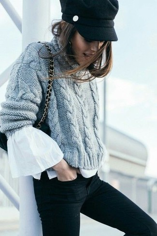 How to wear: grey knit cable sweater, white ruffle long sleeve blouse, black skinny jeans, black suede crossbody bag