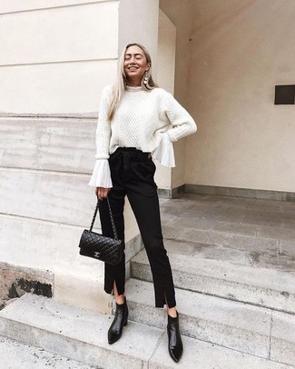 How to wear: white cable sweater, white ruffle long sleeve blouse, black tapered pants, black leather ankle boots