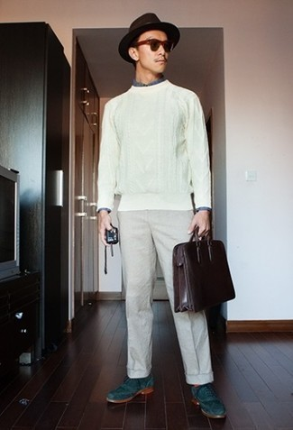500+ Spring Outfits For Men: Flaunt your expertise in men's fashion by wearing this laid-back combination of a white cable sweater and beige chinos. Go ahead and introduce a pair of teal suede brogues to the equation for an extra dose of style. When spring is here, you'll love this outfit as your favorite for winter-to-spring weather.