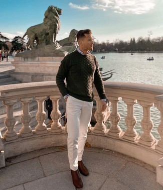 Grey Long Sleeve Shirt Outfits For Men: A grey long sleeve shirt and white chinos are the kind of a no-brainer casual getup that you so desperately need when you have no time to craft a look. Dark brown leather chelsea boots are the simplest way to infuse a sense of sophistication into this outfit.