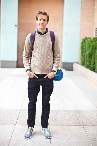 How to Wear Blue Athletic Shoes For Men: A beige cable sweater and navy jeans will inject your daily arsenal this relaxed and dapper vibe. Add a pair of blue athletic shoes to the equation to make a dressy outfit feel suddenly fresh.