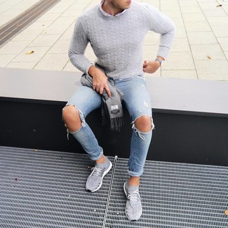 How to wear: grey cable sweater, white long sleeve shirt, light blue ripped skinny jeans, grey athletic shoes