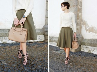 How to wear: white cable sweater, olive pleated midi skirt, grey snake leather heeled sandals, tan leather tote bag