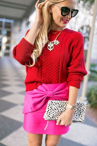 How to wear: red cable sweater, hot pink mini skirt, white leopard leather clutch, black sunglasses