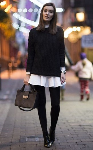 How to wear: black cable sweater, white shirtdress, black leather ankle boots, black leather satchel bag