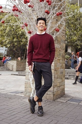 How to Wear Black No Show Socks For Men: Pair a burgundy cable sweater with black no show socks to achieve a casual street style and absolutely dapper outfit. If you wish to immediately up the ante of this ensemble with one item, why not add black leather derby shoes to the mix?