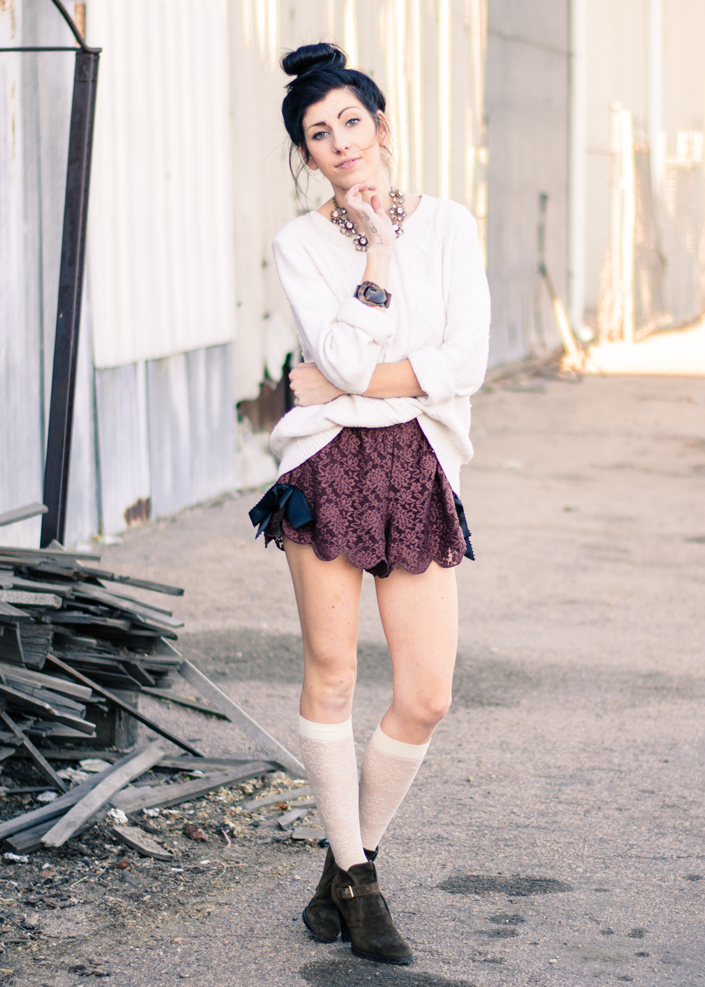 White Knee High Socks Outfits