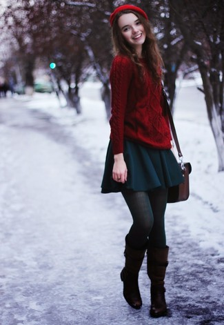 Try teaming a red knit sweater with a teal pleated skirt for a trendy and easy going look. Add dark brown leather knee high boots to your look for an instant style upgrade.
