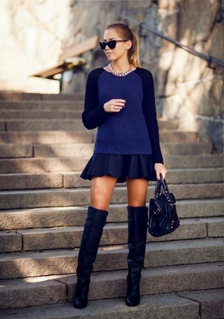 How to Wear Blue Suede Over The Knee Boots (4 looks) | Women's Fashion