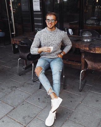 How to Wear a Silver Bracelet For Men: A grey cable sweater and a silver bracelet are the perfect way to introduce effortless cool into your daily casual wardrobe. A pair of white low top sneakers immediately ups the wow factor of any getup.
