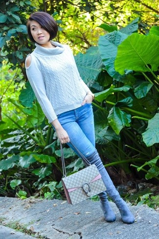 Women's Grey Cable Sweater, Light Blue Skinny Jeans, Grey Suede Over The Knee Boots, Tan Canvas Satchel Bag