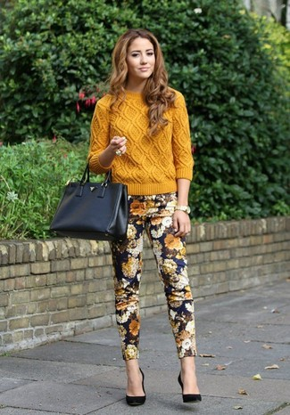 Women's Mustard Cable Sweater, Navy Floral Skinny Pants, Black Suede Pumps, Black Leather Tote Bag
