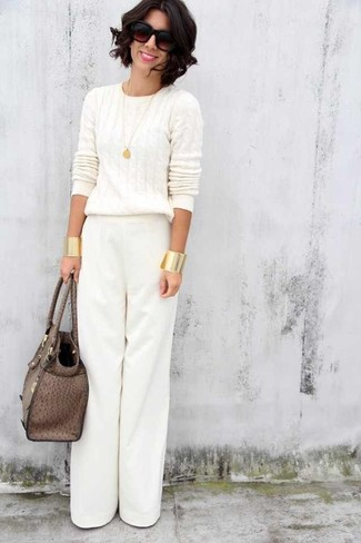 How to wear: white cable sweater, white wide leg pants, brown leather tote bag, dark brown sunglasses