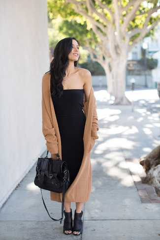 How to wear: camel knit coat, black bodycon dress, black cutout leather ankle boots, black leather satchel bag