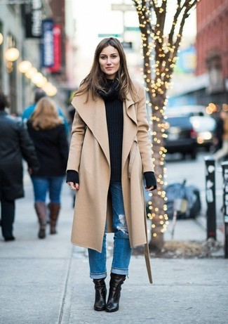 How to wear: camel coat, black cable sweater, blue ripped boyfriend jeans, black leather ankle boots