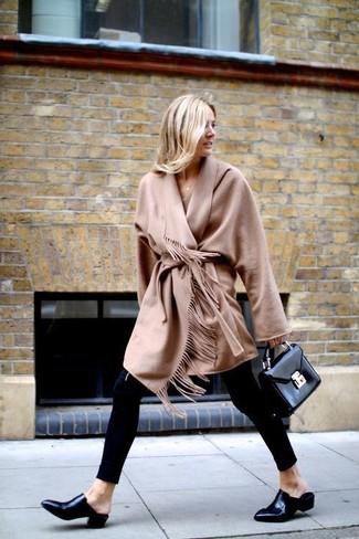How to wear: camel fringe coat, black leggings, black leather loafers, black leather satchel bag