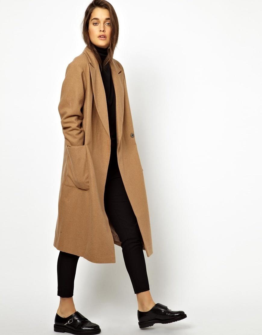 Women's Camel Coat, Black Turtleneck, Black Skinny Pants, Black Leather  Double Monks | Women's Fashion