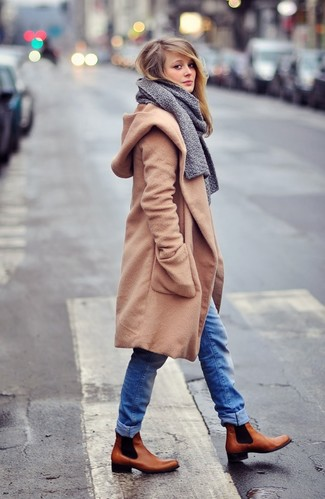 How to wear: camel coat, blue jeans, brown leather chelsea boots, grey scarf