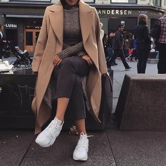 How to wear: camel coat, dark brown turtleneck, charcoal capri pants, white athletic shoes