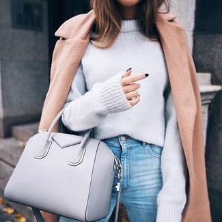 How to wear: camel coat, grey oversized sweater, light blue jeans, grey leather tote bag
