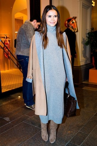 Miroslava Duma wearing Camel Coat, Grey Sweater Dress, Grey Suede Knee High Boots, Dark Brown Leather Satchel Bag