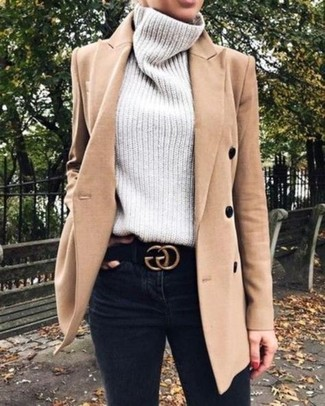 How to wear: camel coat, grey knit turtleneck, black skinny jeans, black suede belt
