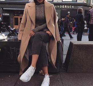How to wear: camel coat, grey turtleneck, charcoal capri pants, white athletic shoes